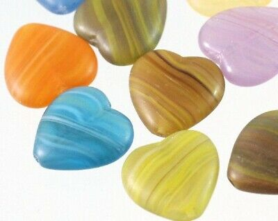 20 Czech Frosted Pressed Glass 16x16mm Heart Bead Mix * ()