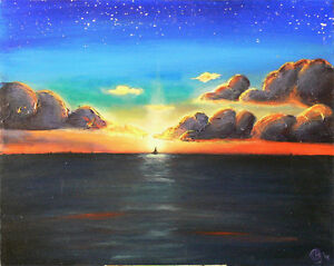 Sunset on Grand Cayman, original acrylic on canvas 16x20 West Island Greater Montréal image 1