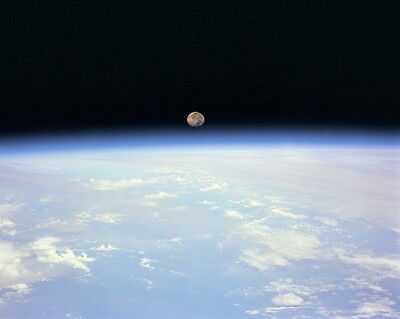 New 8x10 NASA Photo: Moonset over Earth from Space Shuttle Discovery Mission