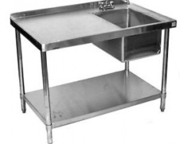 24x60 Stainless Steel Work Table with Prep Sink on Right