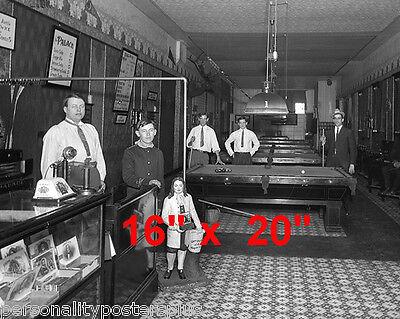 """Shooting Pool~Pool~Pool Hall~Billiards~1912~Poster~16"""" x 20"""" Photo"""