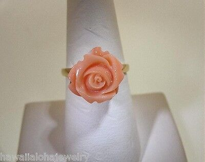 14k Medium Flower Ring - SELECTABLE MEDIUM HAND CARVED PACIFIC PINK ANGELSKIN CORAL ROSE FLOWER RING 7-8