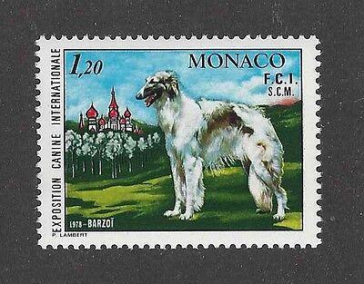 Dog Art Body Portrait Postage Stamp BORZOI RUSSIAN WOLFHOUND Monaco 1978 MNH