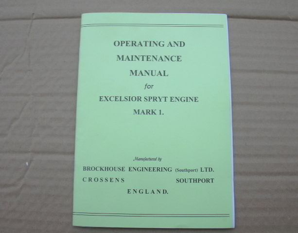 EXCELSIOR SPRYT BROCKHOUSE MARK1 ENGINE MANUAL MILLER & WIPAC IGNITION