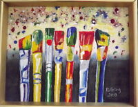Mixed Media, signed and dated Original Painting -Paint Brushes