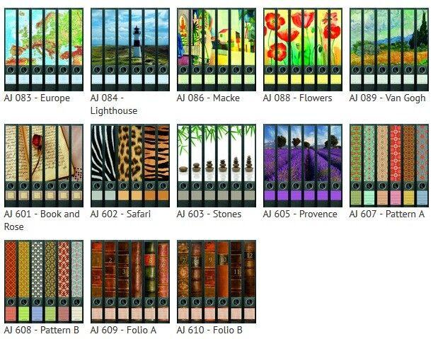 Etiketten für 6 Schmale Ordner Pattern Bücher Retro Aufkleber Ordnerrücken Deko