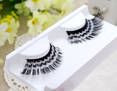 Fake Party Eyelashes Long Black White Multi-Color Makeup Handmade False  - White Eyelashes