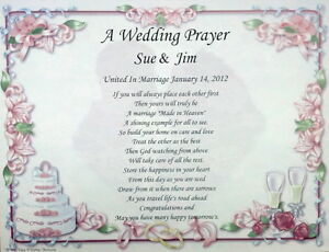 a wedding prayer personalized poem gift for bride groom on