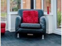 Ikea black leather tub chair.