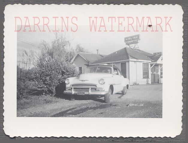 Vintage Car Photo 1951 Chevrolet Convertible w/ Roadside Cafe & Motel 698883