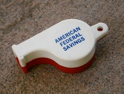 Vintage Advertising AMERICAN FEDERAL SAVINGS Promotional WHISTLE Red & White