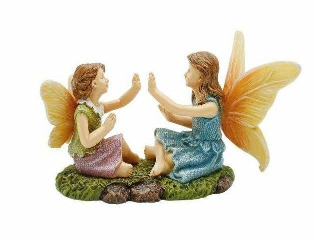 Miniature Fairy Garden Fairies Playing Pattycake - Buy 3 Save $5