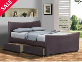 """Beds 4.6 double 199.00 new bed delivery is free only stok-on-treat """" available black and brown"""""""