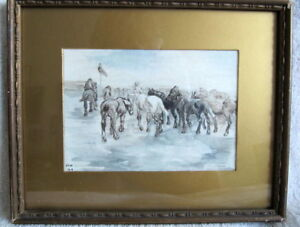 WATER COLOR OF WWI BRITISH BATTLE SCENE