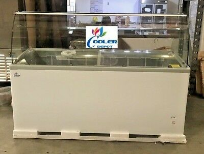 New 72 Ice Cream Gelato Glass Dipping Freezer Showcase Display Commercial Nsf