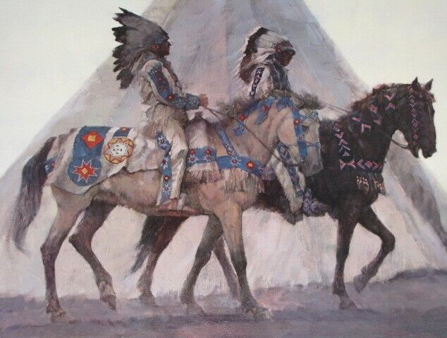 """1984 Kenneth Riley """"BLACKFOOT (Indian) CHIEFS"""" Signed LE Lithograph 307/900"""