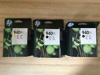 3 Genuine HP 940 XL Ink Cartridges - in original packaging