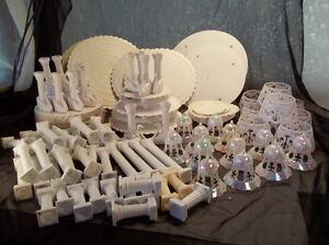 Vintage Cake Decorating Supplies Wilton Plates Swan Pillars Bells