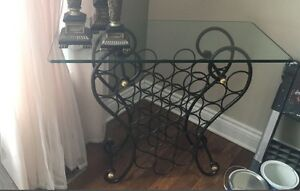 Bombay wine rack console with glass top