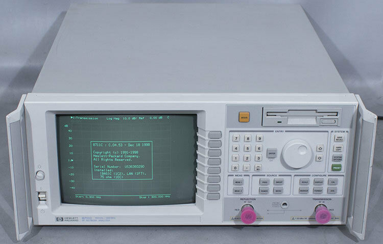 HP/Agilent 8711C RF Network Analyzer 300 kHz to 1.3 GHz, 1EC/1C2/1F7