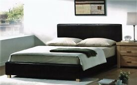 DOUBLE LEATHER FRAME AND ORHTOPEDIC MATTRESS WITH DELIVERY