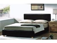 Double Bed Frame Base Low Foot End & Mattress | Expresso Brown Faux Leather