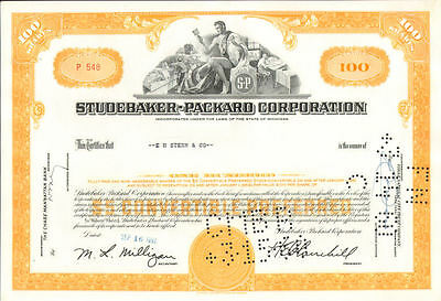 Studebaker Packard Corporation   old automobile car 100 share stock certificate