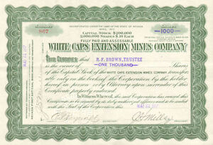 White-Caps-Extension-Mines-1917-Tonopah-Nevada-mining-stock-certificate-share