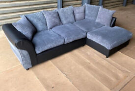 Fabric Corner Sofa - Charcoal/Black.
