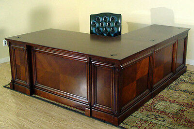 Dark Brown Cherry Executive L Desk With Left Side Return - Computer Ready