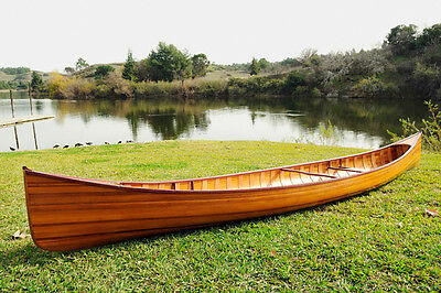 Cedar Strip Built Canoe Wooden Boat 16' With Ribs Woodenboat USA New