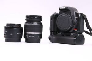CANON XSI + BATTERY GRIP + 2 BATTERIES + LENTILLE 18-55MM + LENT