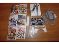 Wii, 6 games, controller (2 packs of duracell), nunchuck, etc