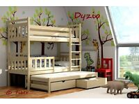 New massive TRIPLE bunk bed DYZIO - solid pine wood - wooden bunk beds