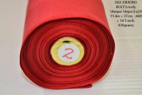 "NISHIJIN Kyoto NEW SILK KIMONO BOLT: RED @a28  11.4mX37cm 448x14.5"""