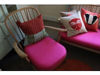 Ercol windsor Armchair. new seat pad and reupholstered in pink raw silk
