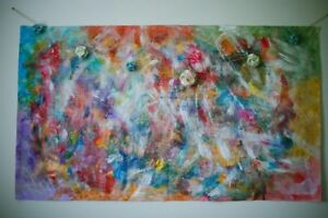 Bright one of a kind colourful painting for sale!