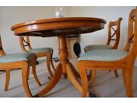 Yew wood dining table + 4 chairs
