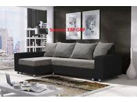 Corner sofa bed sofa bed UK STOCK 1-2 DAY DELIVERY Savona(Grey Black & Grey White)