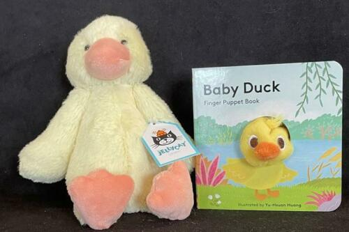 "7"" Jellycat Small Duck and Finger Puppet Boardbook Baby Duck"