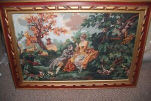 Antique, Framed Wool Tapestry