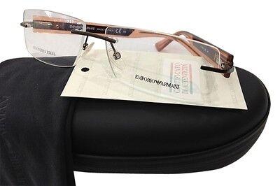 Emporio Armani EA9655 LZP Brown Metal Eyeglasses Frame 55-18-140 Rimless Italy