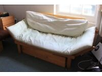 Single Futon Sofa/bed 1 brown, one white, sold individually or together