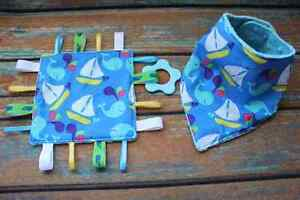 Whales and Sailboats Bib and Taggie Toy Set