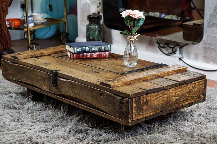 Elegant Rustic Handmade Industrial Style Coffee Table Trunk