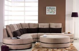 brown corner sofa with pillows