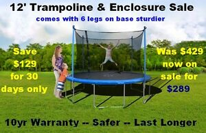 12' Trampoline & Safety Enclosure Sale New 10yr Warranty