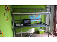 IKEA Cabin Bed or Upper bed of bunk or Loft bed with Mattress and Desk! - can be right or left