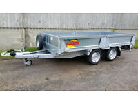 "Flatbed trailer Platform trailer Bateson 20-36 12' x 5'10"" with sides and ramps"