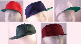 "5 New Quality Baseball Caps, Blue, Green, Maroon, Red, White - 22""(54cm)"